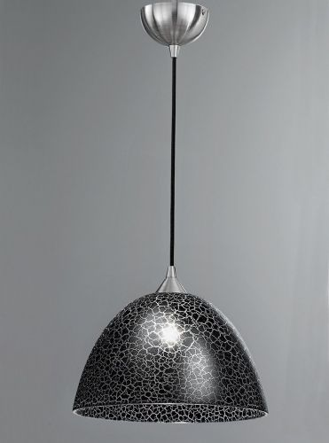 Franklite FL2290/1/953 Satin Nickel & Black Crackle Glass Pendant Light